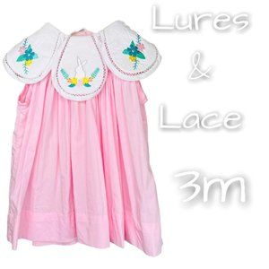 Lures & Lace Baby Girl Pink Bunny Dress 3 m